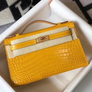 Hermes Kelly Pochette Bag In Yellow Embossed Crocodile Leather