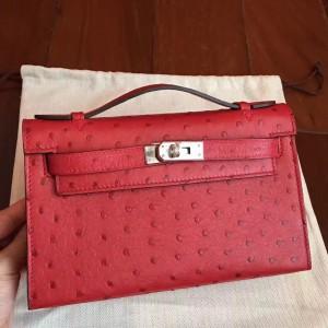 Hermes Red Kelly Pochette Ostrich Handmade Bag