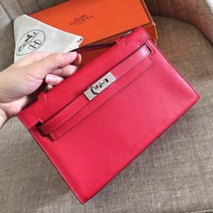 Hermes Red Kelly Pochette Swift Handmade Bag