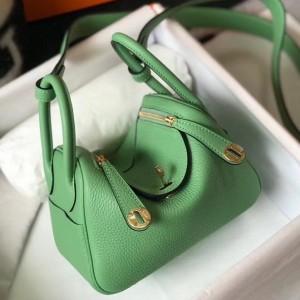 Hermes Lindy Mini Bag In Vert Criquet Clemence Calfskin