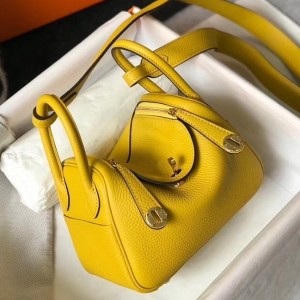 Hermes Mini Lindy Bag In Yellow Clemence Leather