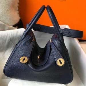 Hermes Lindy 26cm Bag In Navy Blue Clemence With GHW