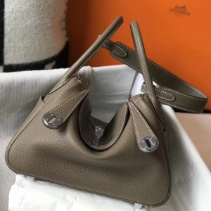 Hermes Lindy 26cm Bag In Taupe Grey Clemence With PHW