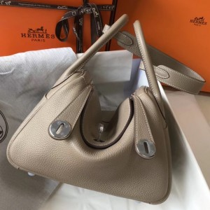 Hermes Lindy 26cm Bag In Gris Tourterelle Clemence With PHW