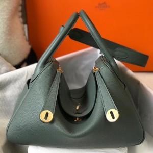 Hermes Lindy 26cm Bag In Vert Amande Clemence With GHW