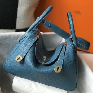 Hermes Lindy 30cm Bag In Blue Jean Clemence Leather