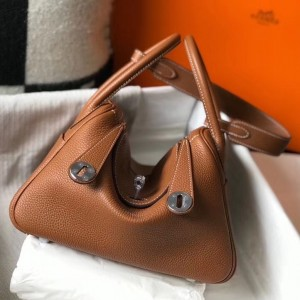 Hermes Lindy 30cm Bag In Brown Clemence Leather