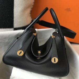 Hermes Lindy 30cm Bag In Black Clemence Leather