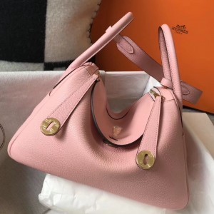 Hermes Lindy 30cm Bag In Pink Clemence Leather