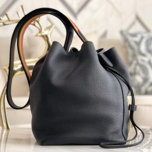 Hermes Licol 17cm Bag In Black Evercolor Calfskin