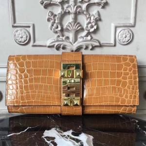 Hermes Medor Clutch Bag In Camarel Crocodile Leather