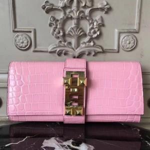 Hermes Medor Clutch Bag In Pink Crocodile Leather