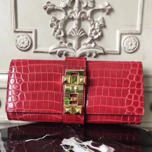 Hermes Medor Clutch Bag In Red Crocodile Leather