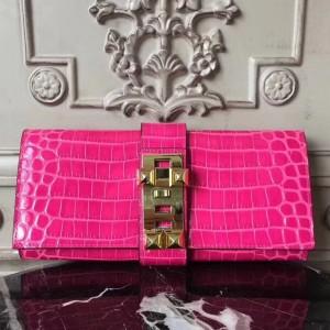 Hermes Medor Clutch Bag In Rose Red Crocodile Leather