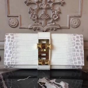 Hermes Medor Clutch Bag In White Crocodile Leather