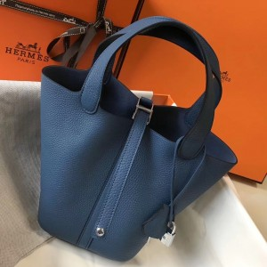 Hermes Picotin Lock 18 Bag In Blue Agate Clemence Leather