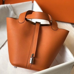Hermes Picotin Lock 18 Bag In Orange Clemence Leather