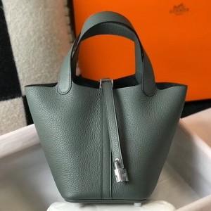 Hermes Picotin Lock 18 Bag In Vert Amande Clemence Leather