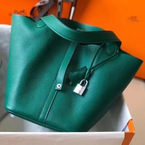 Hermes Picotin Lock 22 Bag In Vert Vertigo Clemence Leather