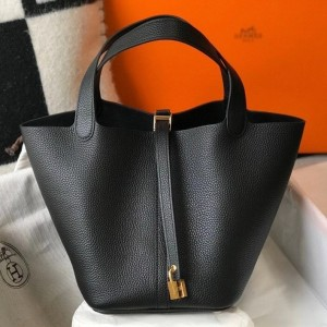 Hermes Picotin Lock 22 Bag In Black Clemence Leather
