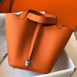 Hermes Picotin Lock 22 Bag In Orange Clemence Leather