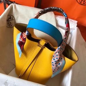 Hermes Bicolor Picotin Lock PM 18cm Yellow Bag