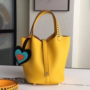 Hermes Yellow Picotin Lock 18cm Bag With Braided Handles