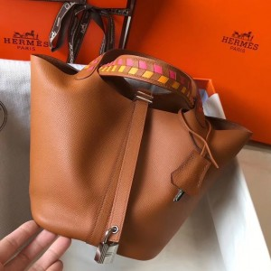 Hermes Gold Picotin Lock 18 Bag With Braided Handles