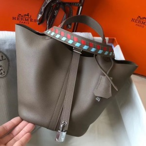 Hermes Taupe Picotin Lock 18 Bag With Braided Handles