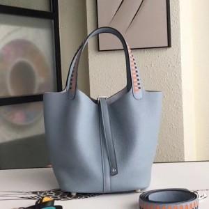 Hermes Blue Lin Picotin Lock 22cm Braided Handle Bag