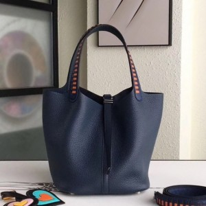 Hermes Navy Picotin Lock 22cm Braided Handle Bag