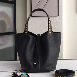 Hermes Black Picotin Lock 22cm Braided Handle Bag