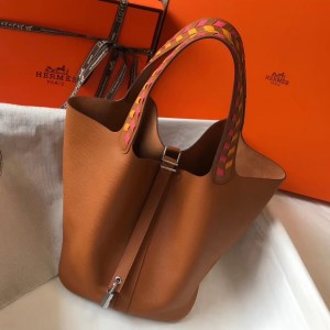 Hermes Gold Picotin Lock 22 Bag With Braided Handles