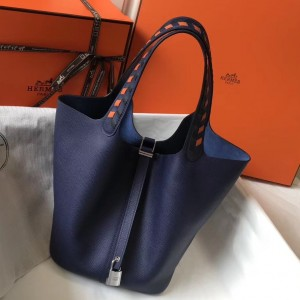 Hermes Sapphire Picotin Lock 22 Bag With Braided Handles