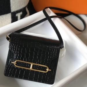 Hermes Roulis Mini Bag In Black Embossed Crocodile Calfskin