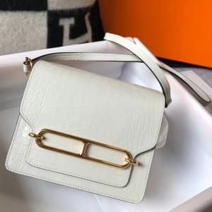 Hermes Roulis Mini Bag In White Embossed Crocodile Calfskin
