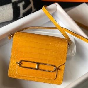 Hermes Roulis Mini Bag In Yellow Embossed Crocodile Calfskin