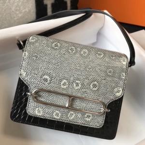 Hermes Roulis Mini Bag In Black Crocodile With Natural Lizard
