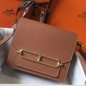 Hermes Mini Sac Roulis 18cm Bag In Brown Evercolor Calfskin