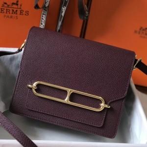Hermes Mini Sac Roulis 18cm Bag In Burgundy Evercolor Calfskin