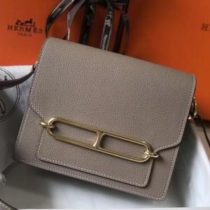 Hermes Mini Sac Roulis 18cm Bag In Grey Evercolor Calfskin