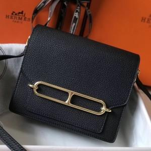 Hermes Mini Sac Roulis 18cm Bag In Black Evercolor Calfskin