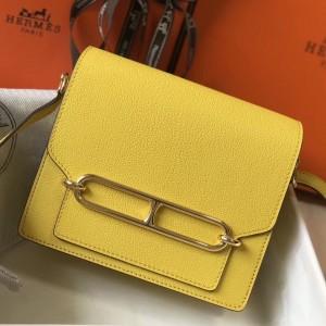 Hermes Mini Sac Roulis 18cm Bag In Yellow Evercolor Calfskin