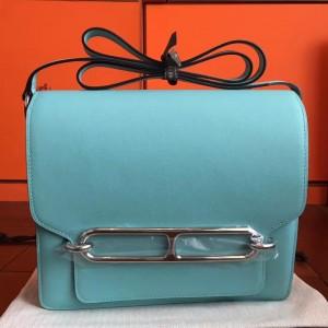 Hermes Mini Sac Roulis Bag In Blue Atoll Swift Leather