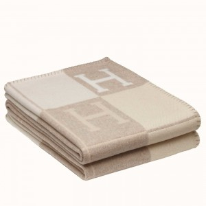 Hermes Beige Avalon III Throw Blanket