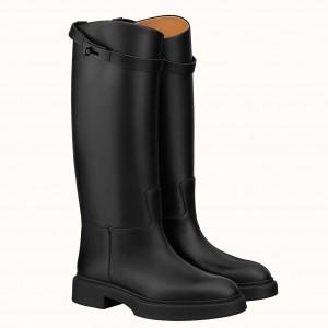 Hermes Variation Boots In Black Calfskin