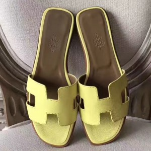 Hermes Oran Sandals In Soufre Epsom Leather