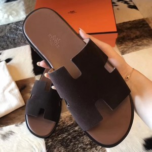 Hermes Izmir Sandals In Chocolate Suede Leather