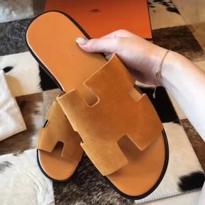 Hermes Izmir Sandals In Orange Suede Leather