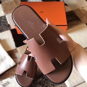 Hermes Izmir Sandals In Camarel Swift Leather